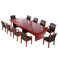 红胡桃实木贴皮椭圆会议桌长桌简约现代大型烤漆洽谈长方条桌
