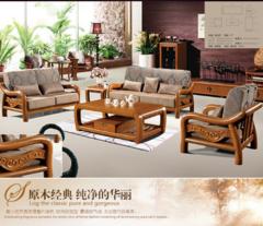 新款木质沙发现代中式办公沙发客厅雕花菠萝格实木沙发批发定制