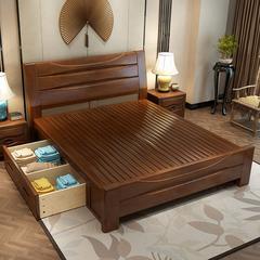 实木床双人床1.8米中式现代简约1.5米储物高箱床橡木主卧婚床家具