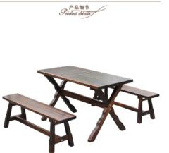实木防腐碳化餐桌椅组合 餐厅饭店吃饭桌户外实木成套桌椅