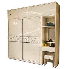 烤漆推拉门衣柜 卧室简约现代2滑移门带梳妆台一体大木衣橱经济型