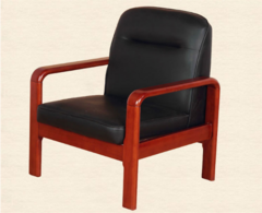 办公家具实木扶手小型单人沙发黑色西皮会议待客接待前台三人沙发