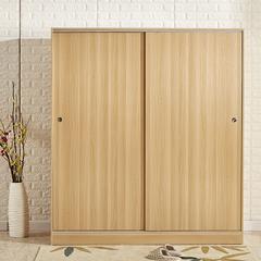 推拉移门衣柜实木质柜子2门板式定制整体组装卧室简约现代经济型