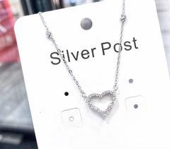 925银碎钻镶嵌心形吊坠